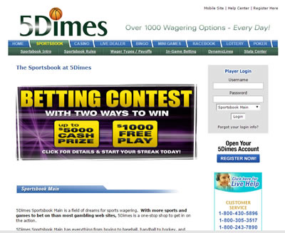 5Dimes Sports Betting Site